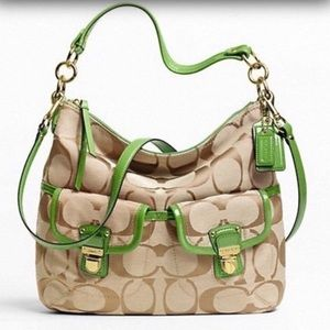Coach signature khaki w green trim hobo bag